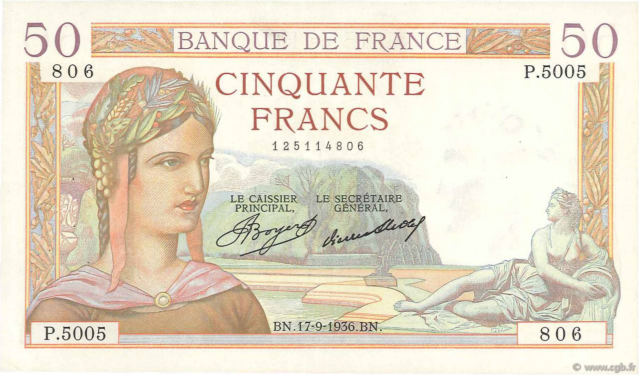 50 Francs CÉRÈS FRANCE  1936 F.17.30 SUP