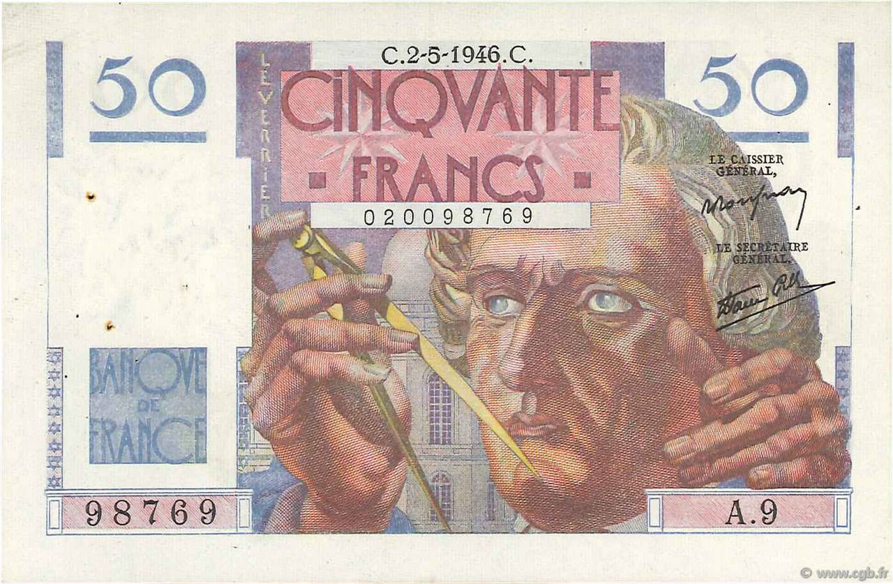 50 Francs LE VERRIER FRANCE  1946 F.20.03 pr.SUP