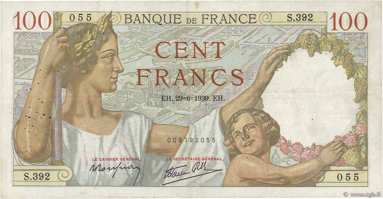 100 Francs SULLY FRANCE  1939 F.26.04 TB+