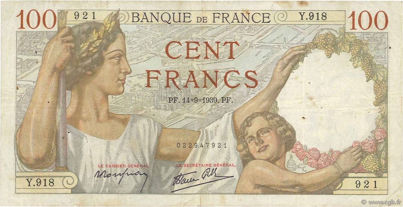 100 Francs SULLY FRANCE  1939 F.26.06 pr.TB