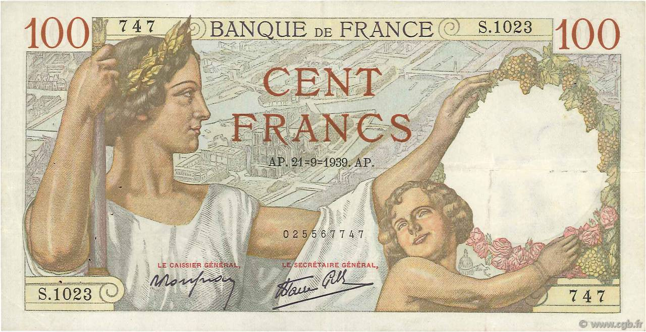 100 Francs SULLY FRANCE  1939 F.26.07 TTB