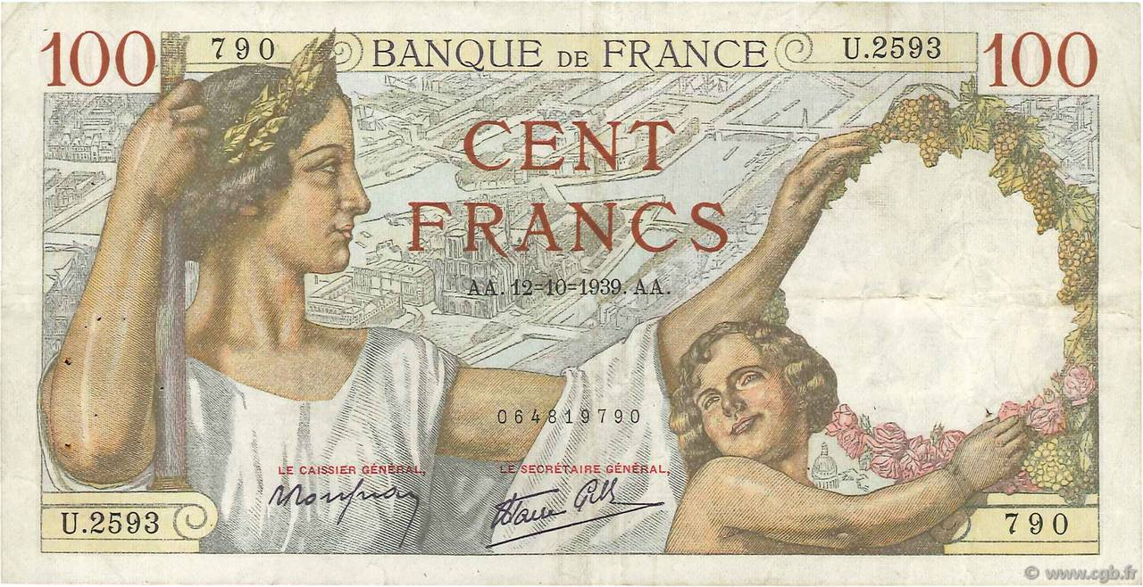 100 Francs SULLY FRANCE  1939 F.26.10 TB+