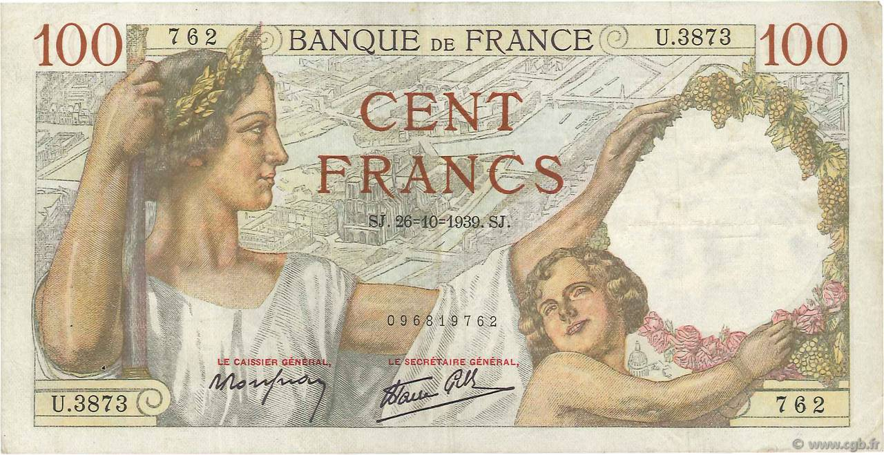 100 Francs SULLY FRANCE  1939 F.26.12 TTB
