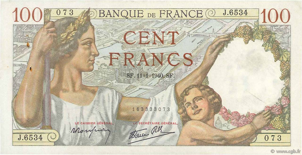 100 Francs SULLY  FRANCE  1940 F.26.20 SUP