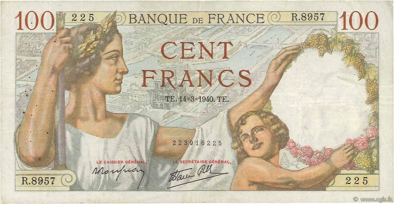 100 Francs SULLY FRANCE  1940 F.26.25 TB