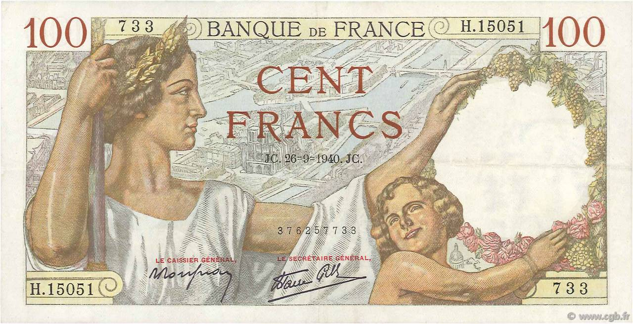 100 Francs SULLY FRANCE  1940 F.26.38 SUP