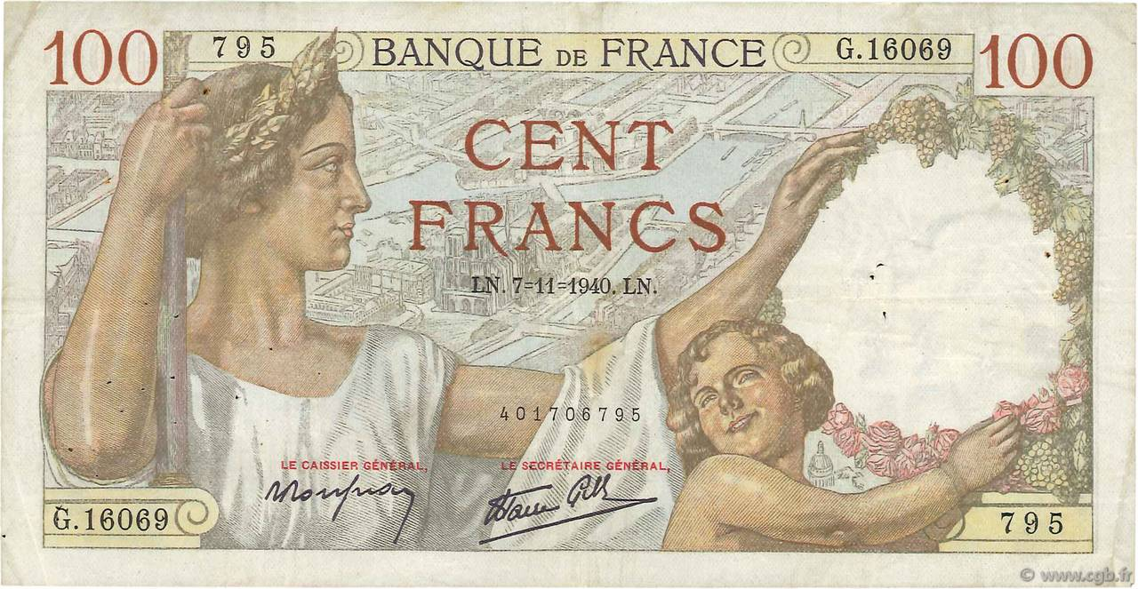 100 Francs SULLY FRANCE  1940 F.26.40 TB