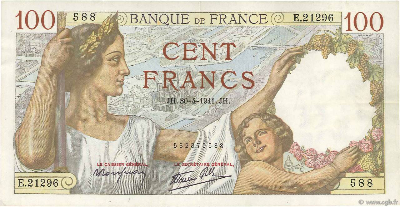 100 Francs SULLY  FRANCE  1941 F.26.51 SUP