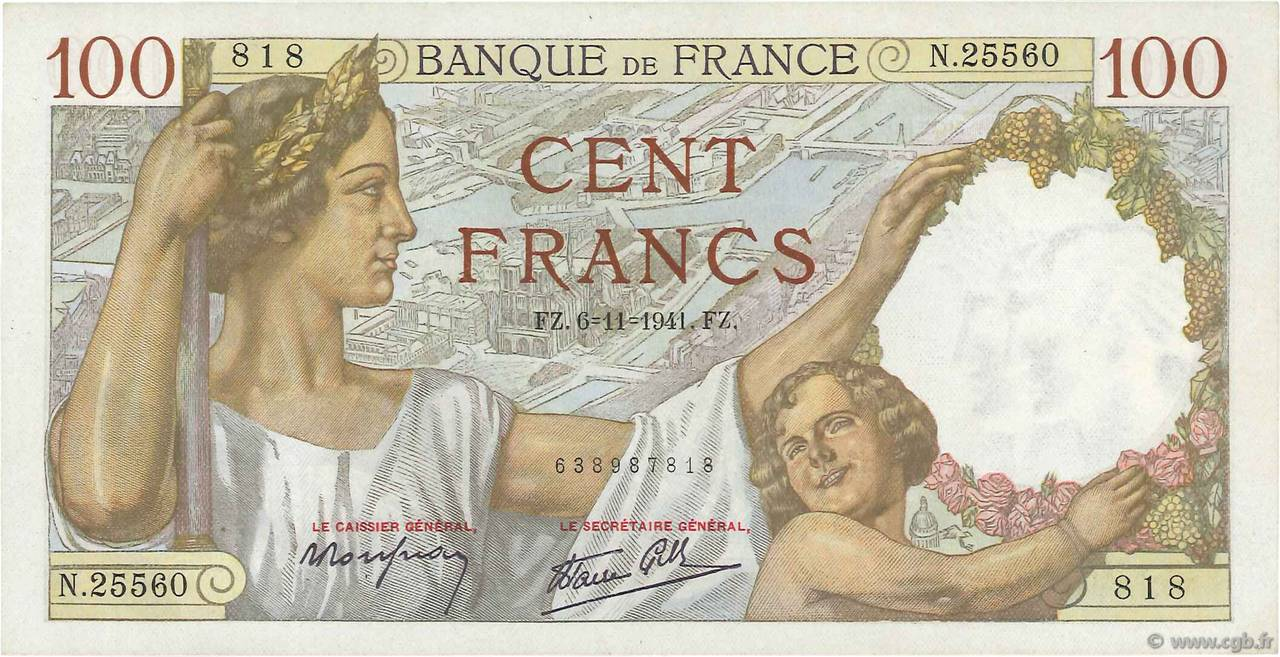 100 Francs SULLY FRANCE  1941 F.26.60 SPL