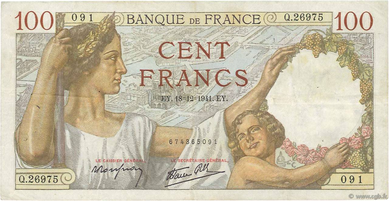 100 Francs SULLY FRANCE  1941 F.26.63 TB+