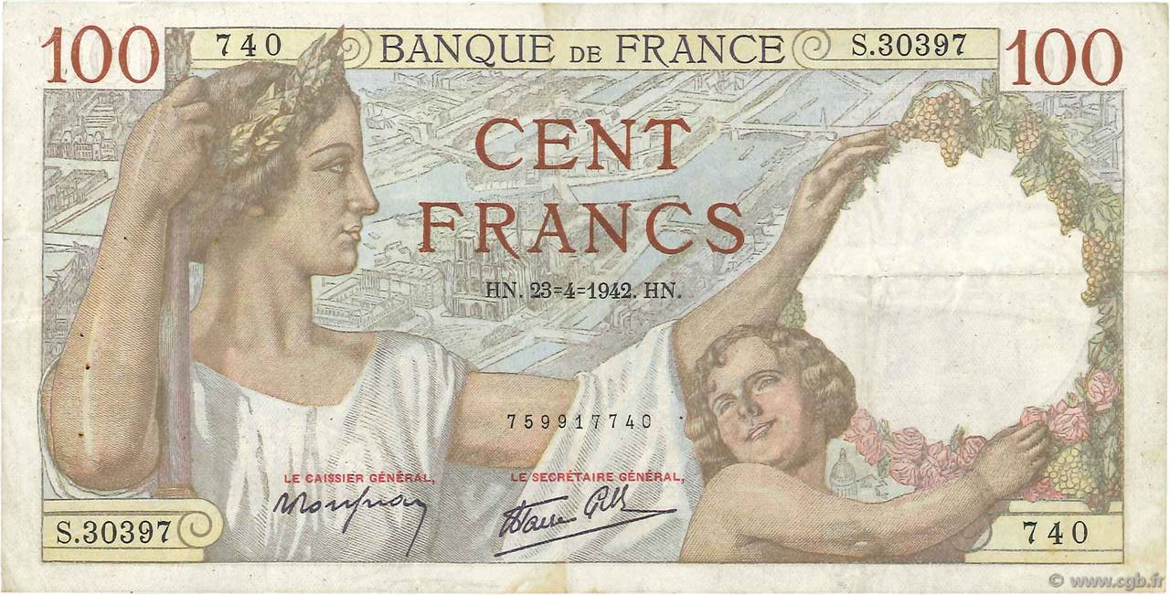 100 Francs SULLY FRANCE  1942 F.26.70 TB+