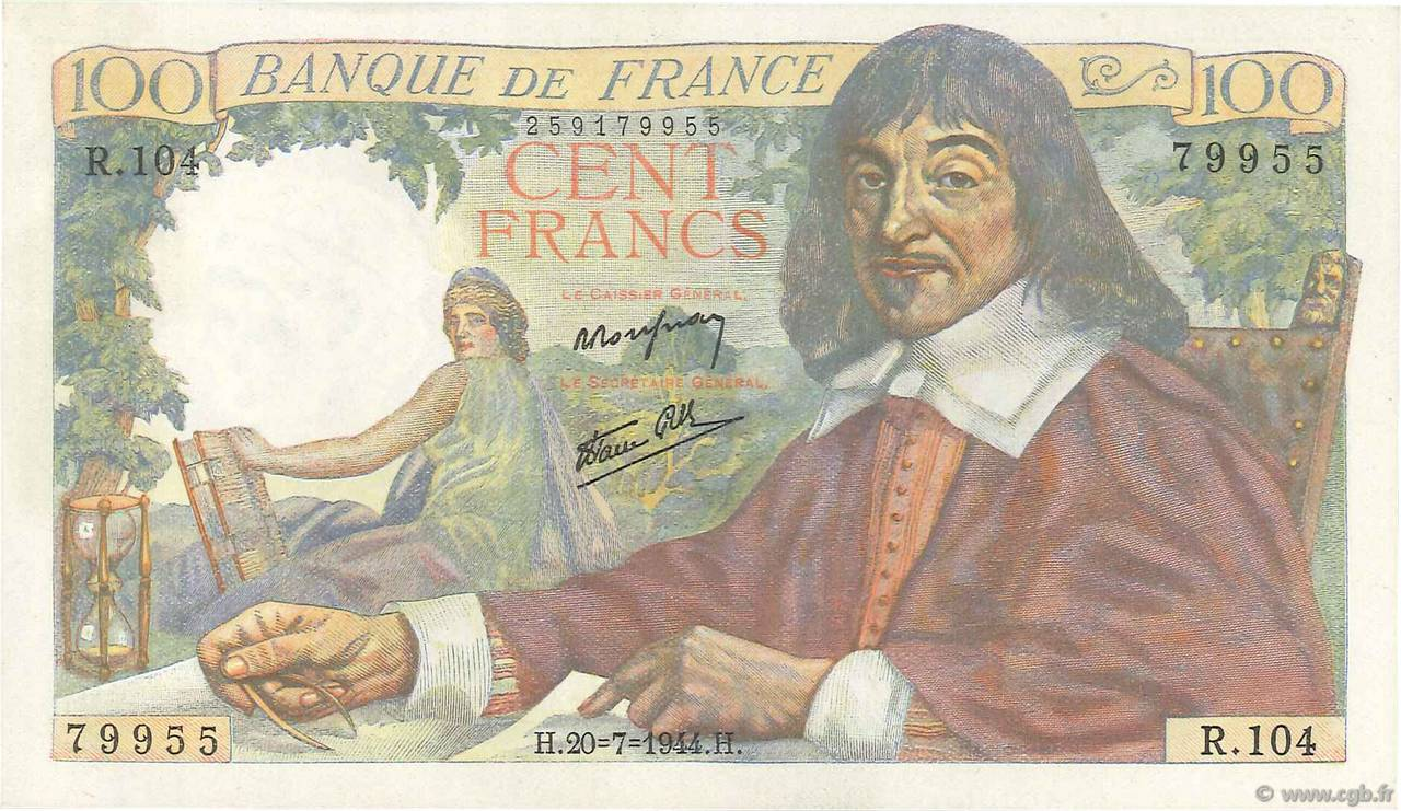 100 Francs DESCARTES FRANCE  1944 F.27.06 pr.NEUF