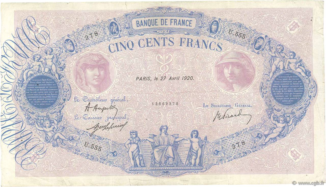 500 Francs BLEU ET ROSE FRANCE  1920 F.30.24 pr.TTB