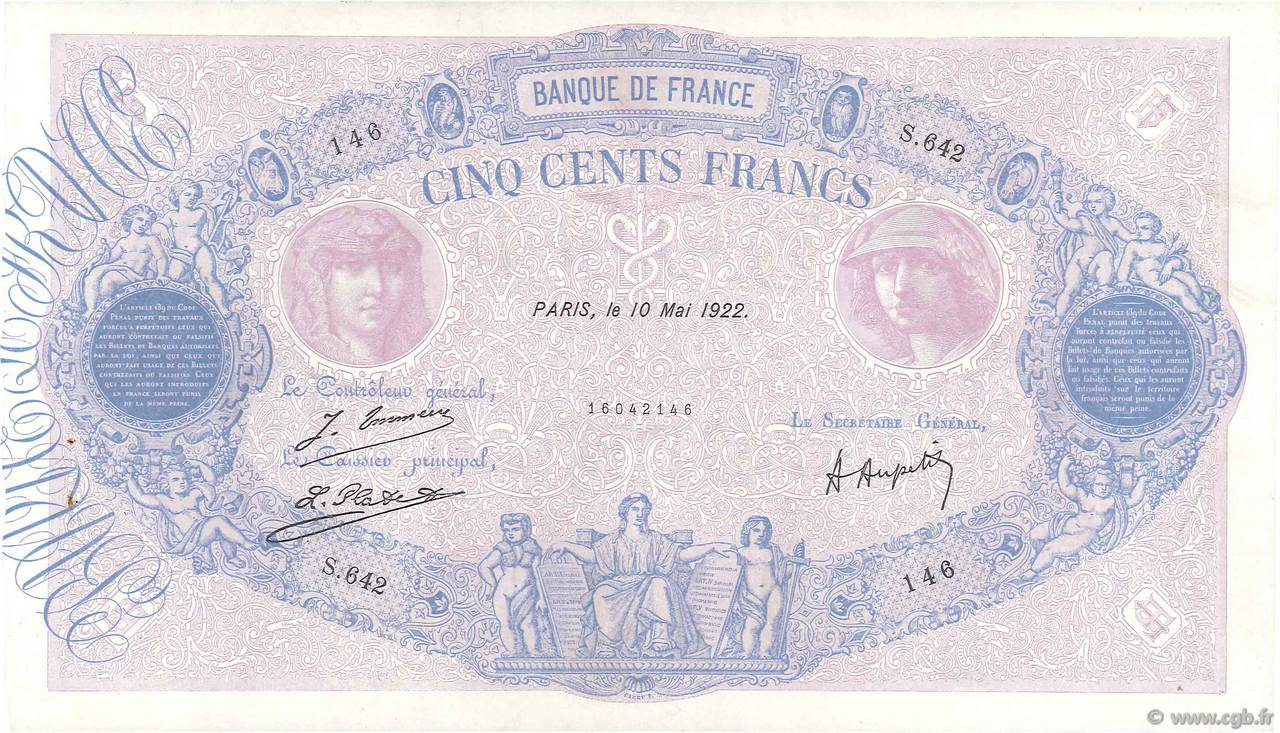 500 Francs BLEU ET ROSE  FRANCE  1922 F.30.26 TTB+
