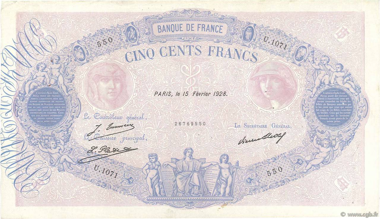 500 Francs BLEU ET ROSE FRANCE  1928 F.30.31 pr.TTB