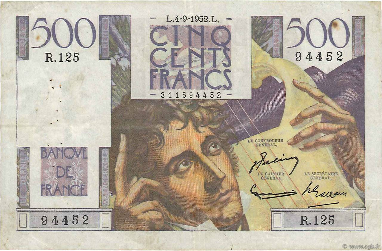500 Francs CHATEAUBRIAND FRANCE  1952 F.34.10 TB