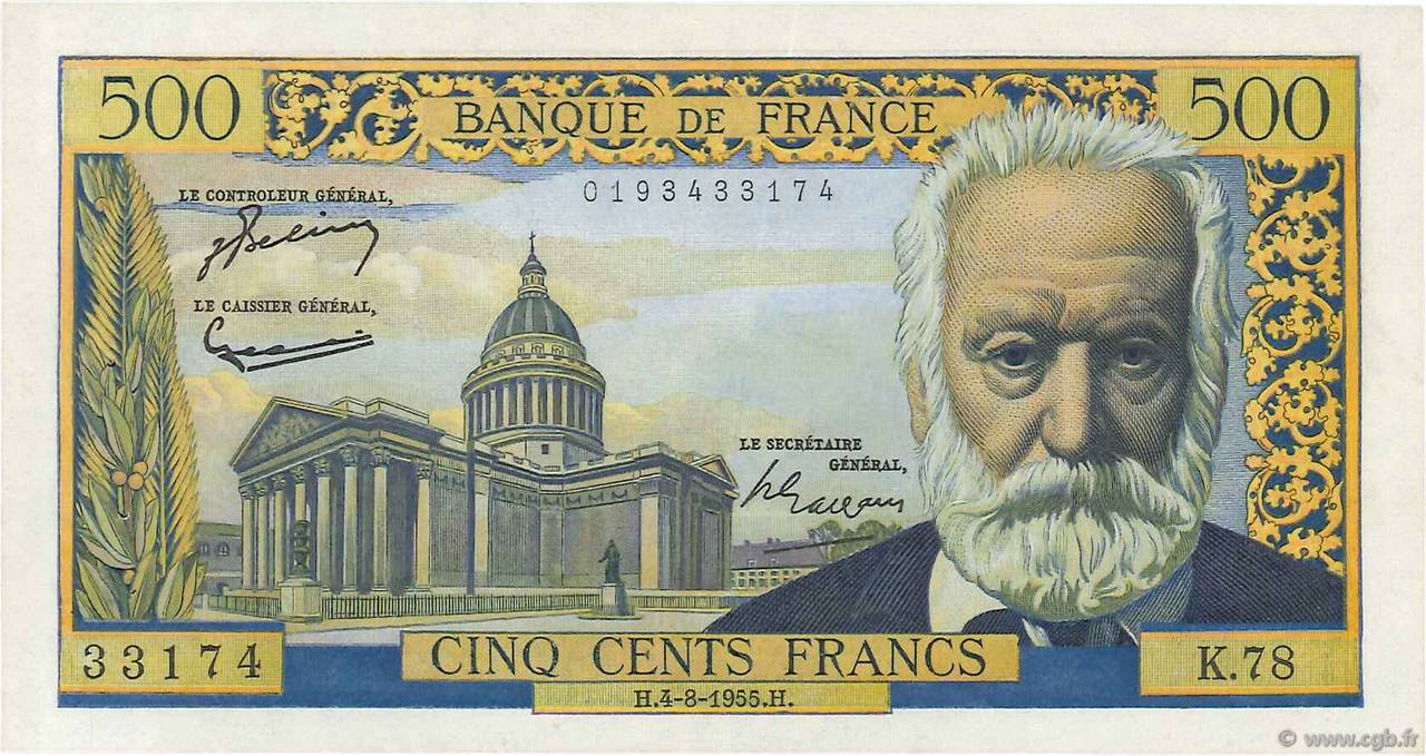 500 Francs VICTOR HUGO FRANCE  1955 F.35.05 SUP