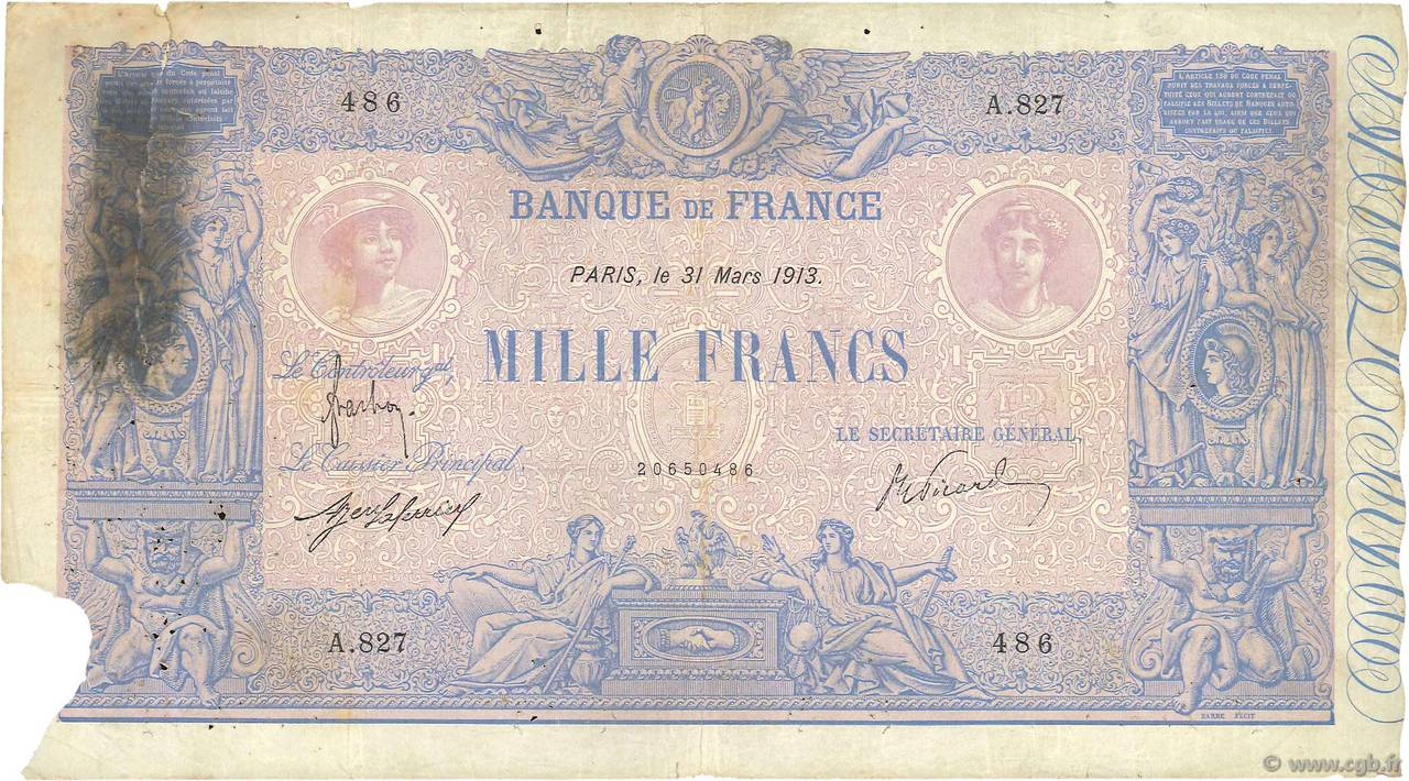 1000 Francs BLEU ET ROSE FRANCE  1913 F.36.27 pr.B