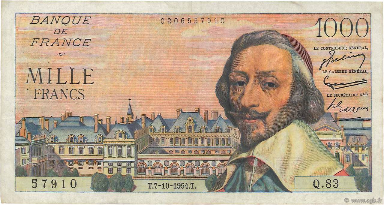 1000 Francs RICHELIEU FRANCE  1954 F.42.08 TB+
