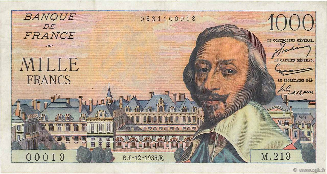 1000 Francs RICHELIEU FRANCE  1955 F.42.17 TTB