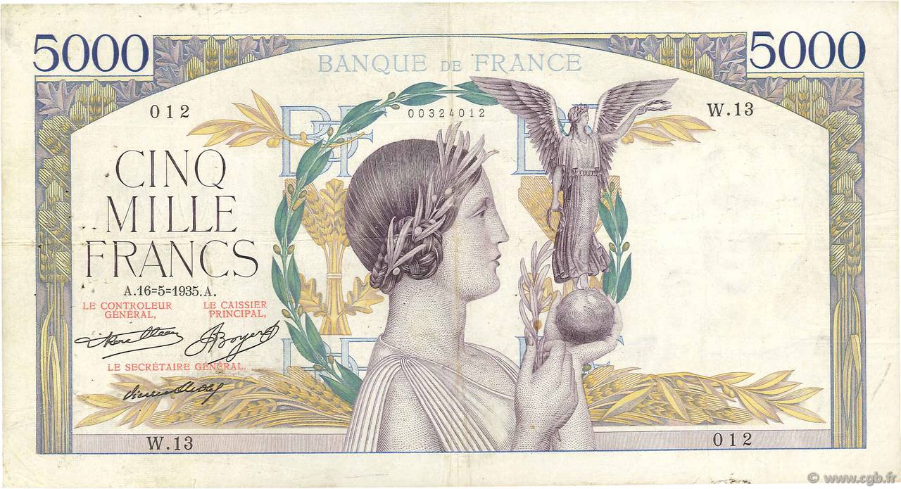 5000 Francs VICTOIRE Taille Douce FRANCE  1935 F.44.02 TB+