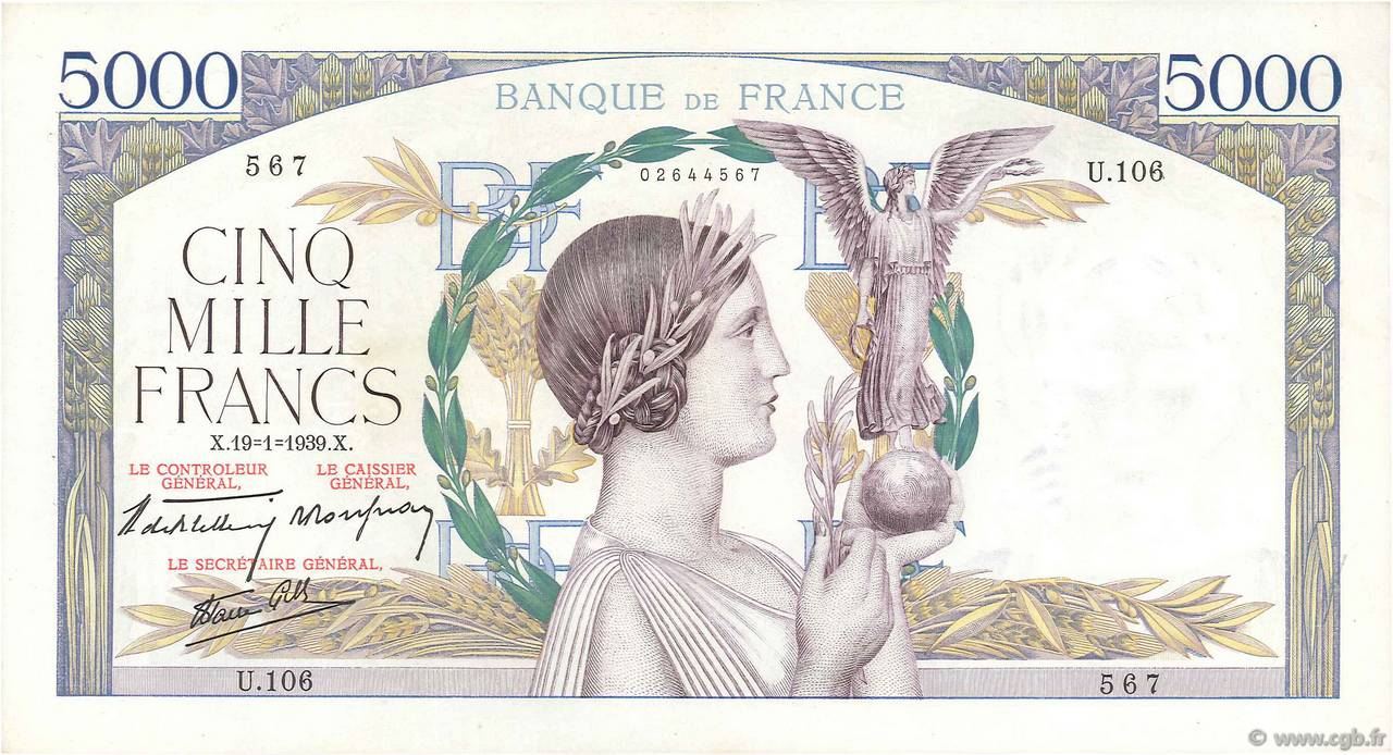 5000 Francs VICTOIRE Impression à plat FRANCE  1939 F.46.02 SUP