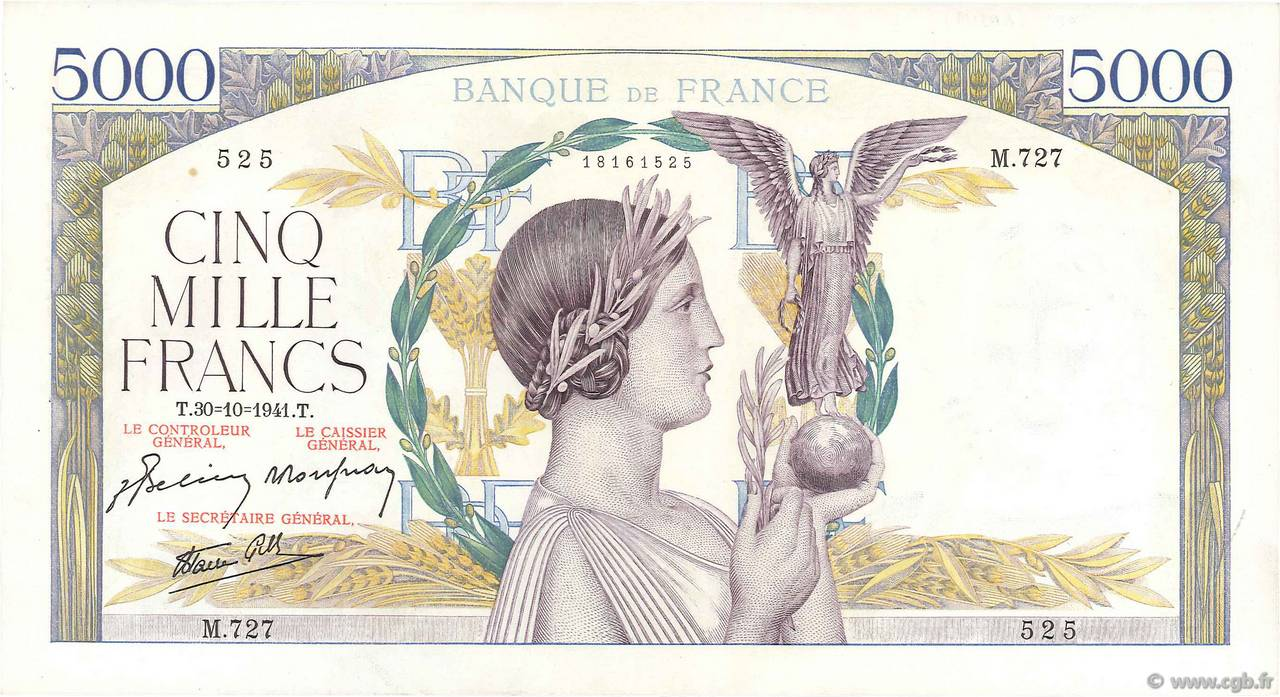 5000 Francs VICTOIRE Impression à plat FRANCE  1941 F.46.28 SUP