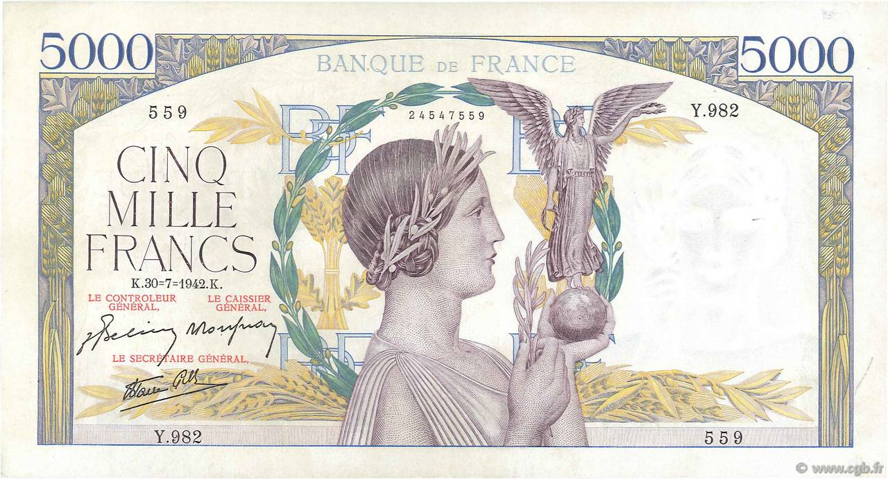5000 Francs VICTOIRE Impression à plat FRANCE  1942 F.46.39 SUP