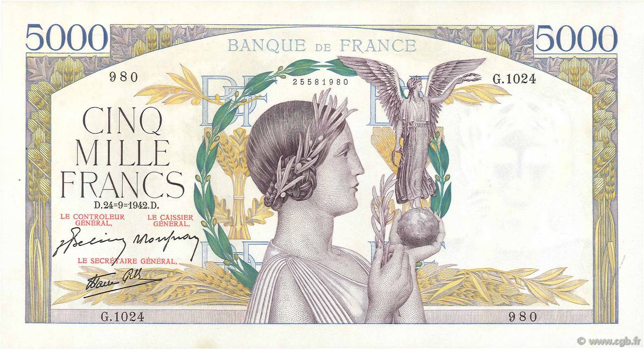 5000 Francs VICTOIRE Impression à plat FRANCE  1942 F.46.41