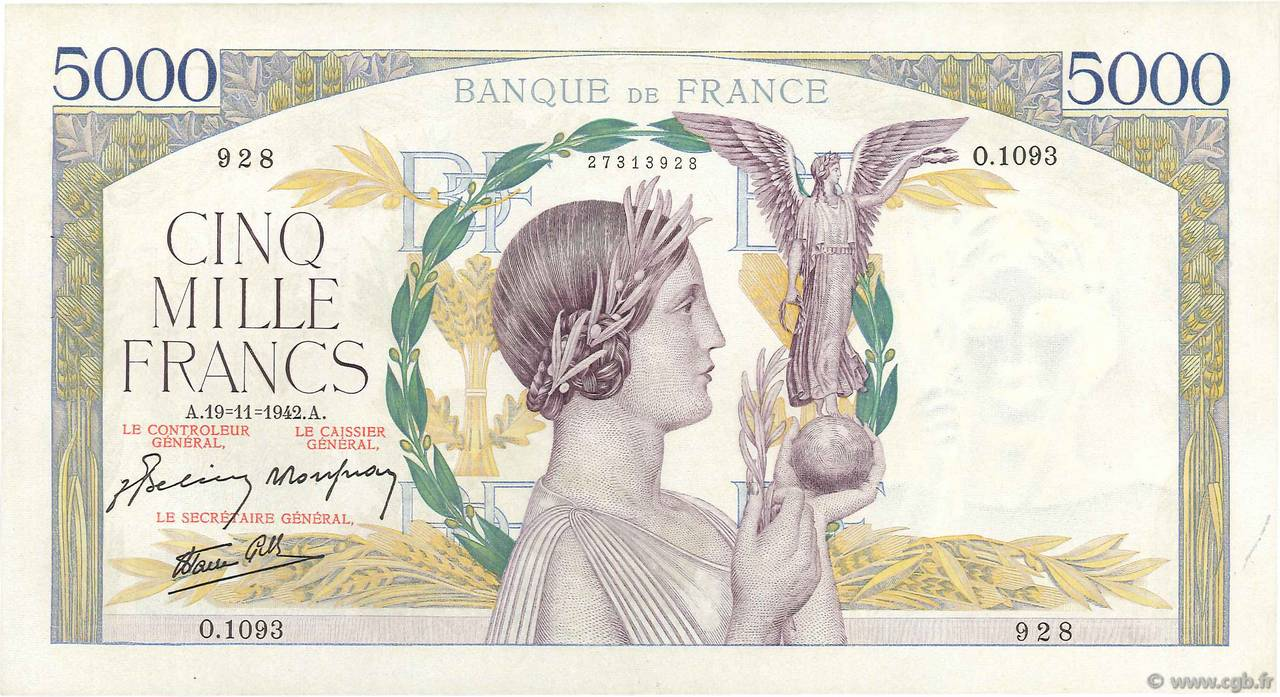 5000 Francs VICTOIRE Impression à plat FRANCE  1942 F.46.44 SUP