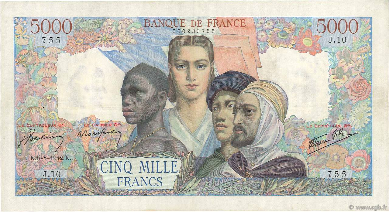 5000 Francs EMPIRE FRANÇAIS  FRANCE  1942 F.47.01 TTB