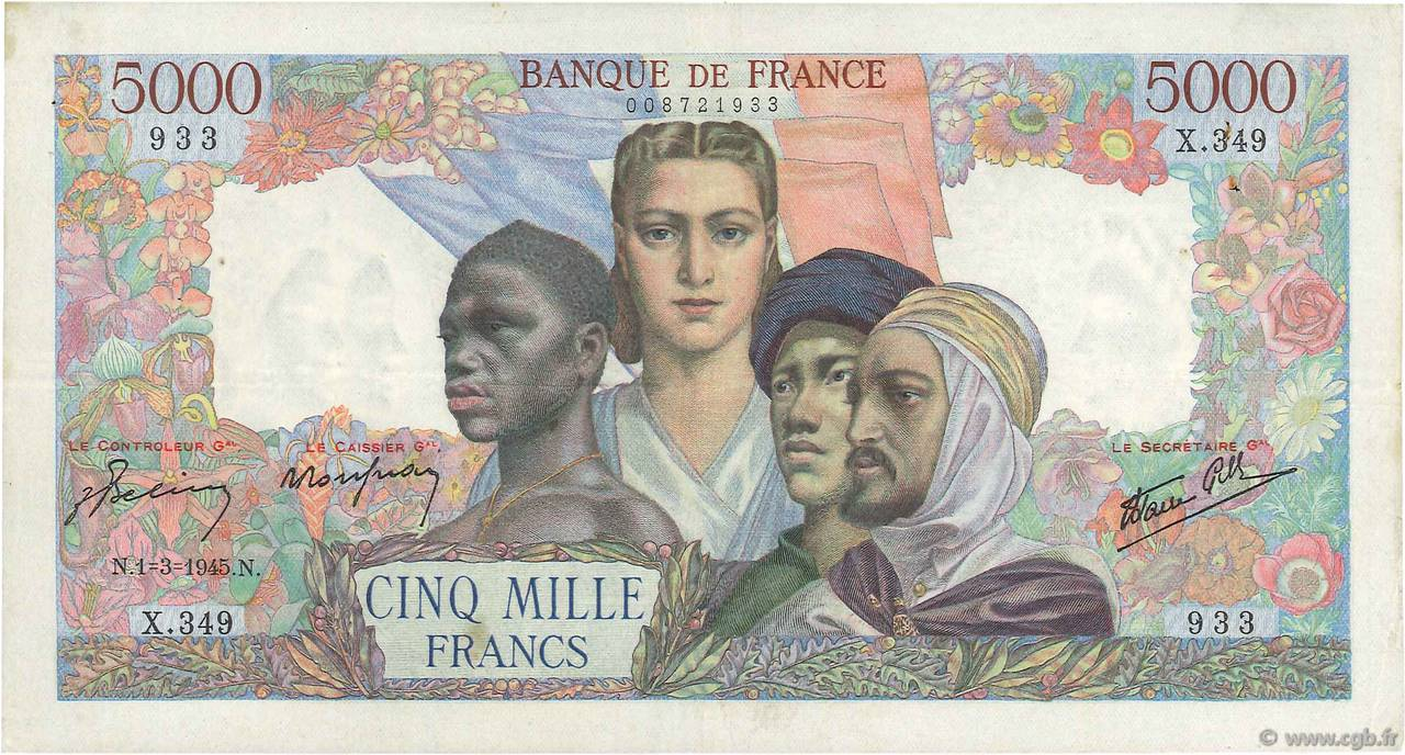 5000 Francs EMPIRE FRANÇAIS FRANCE  1945 F.47.15 TTB