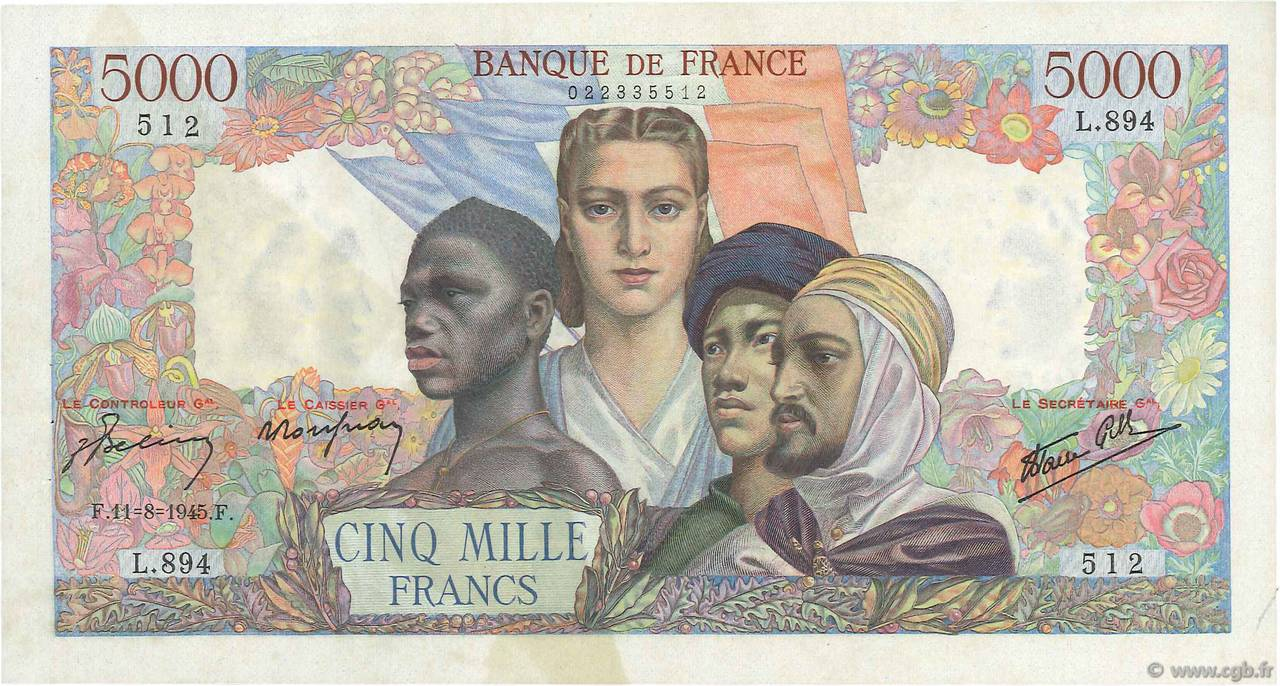 5000 Francs EMPIRE FRANÇAIS FRANCE  1945 F.47.38 SUP