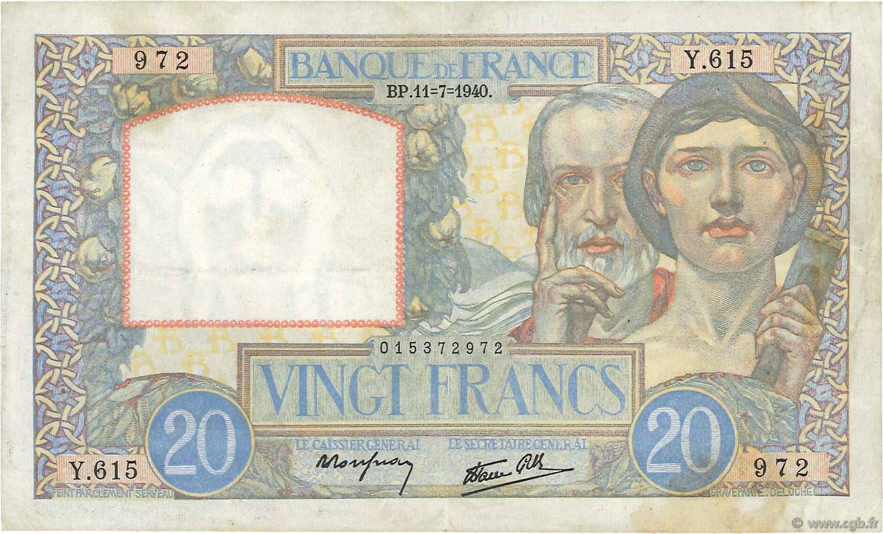 20 Francs TRAVAIL ET SCIENCE FRANCE  1940 F.12.04 TTB