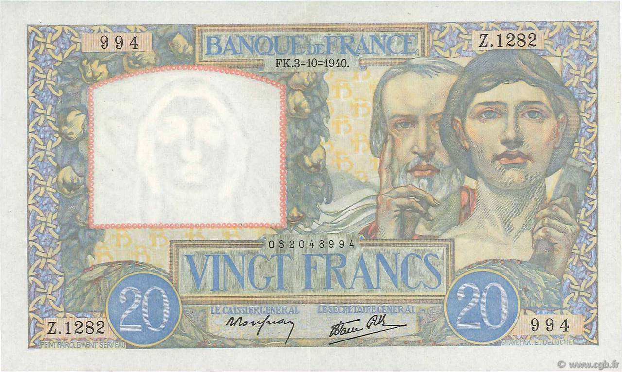 20 Francs SCIENCE ET TRAVAIL FRANCE  1940 F.12.08