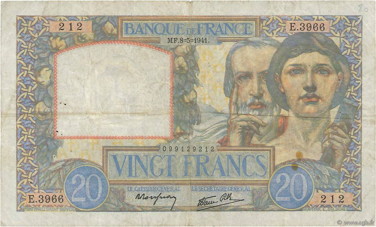 20 Francs TRAVAIL ET SCIENCE FRANCE  1941 F.12.14 TB+