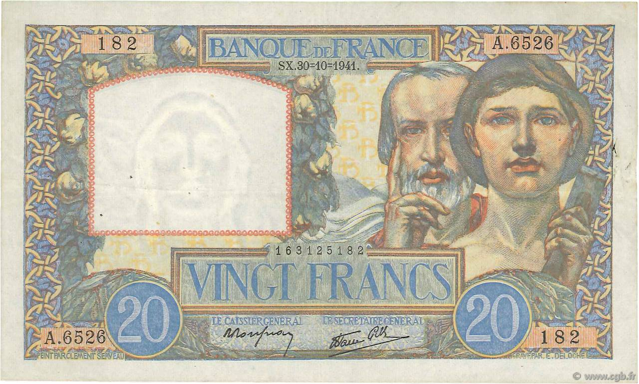 20 Francs TRAVAIL ET SCIENCE FRANCE  1941 F.12.19 TTB