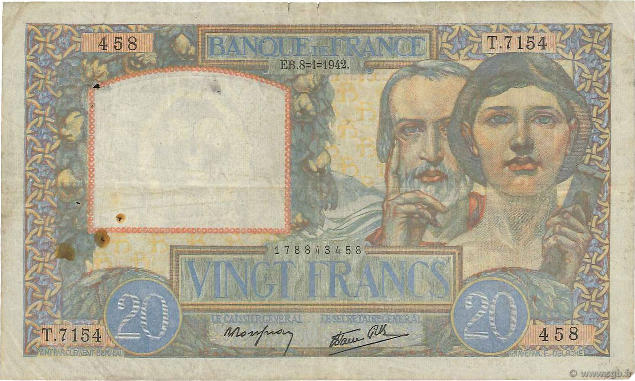 20 Francs TRAVAIL ET SCIENCE FRANCE  1942 F.12.21 TB