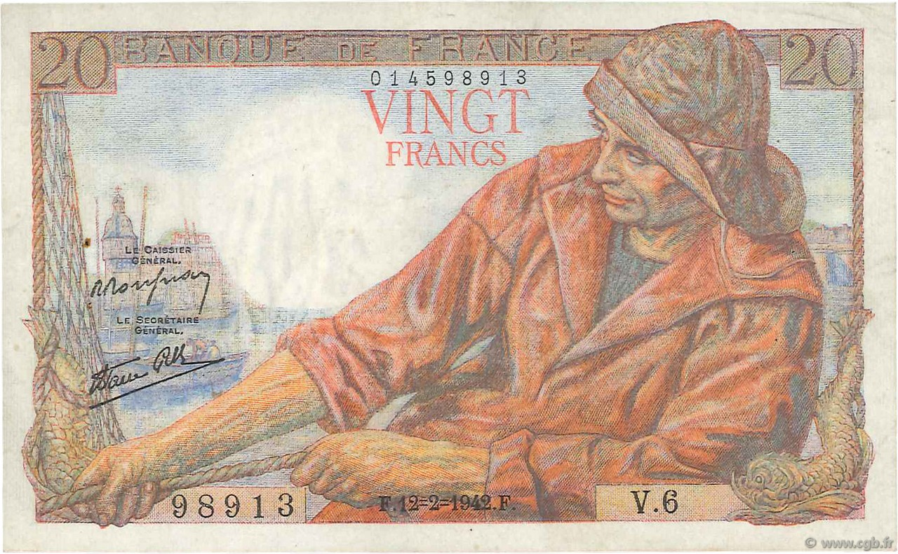 20 Francs PÊCHEUR FRANCE  1942 F.13.01 pr.SUP