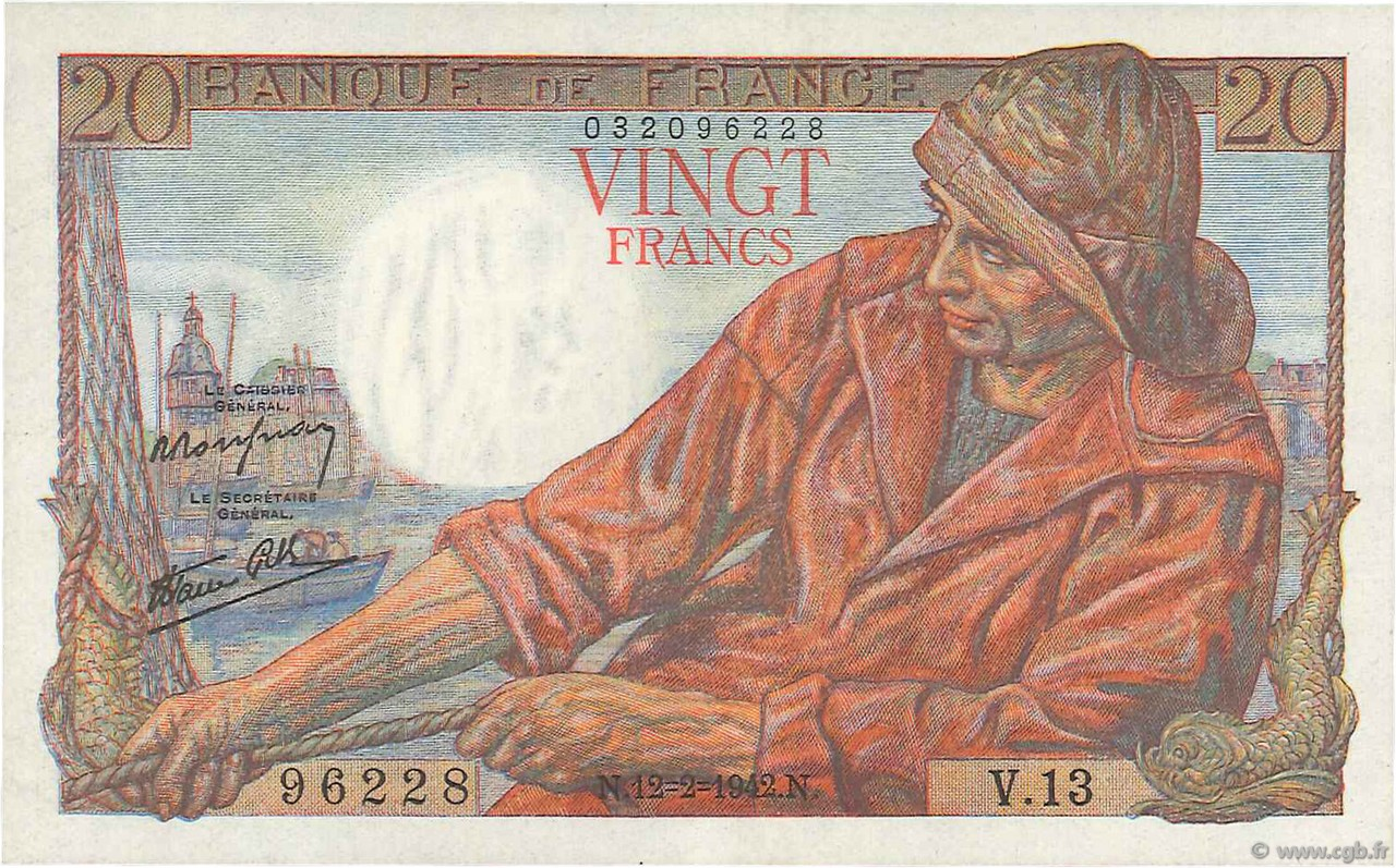 20 Francs PÊCHEUR FRANCE  1942 F.13.01 SUP