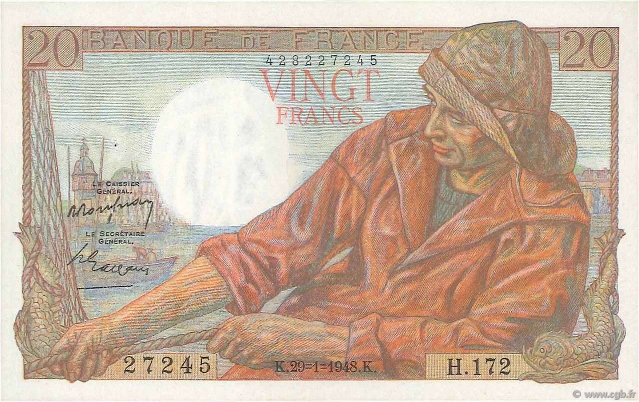 20 Francs PÊCHEUR  FRANCE  1948 F.13.12 SUP+