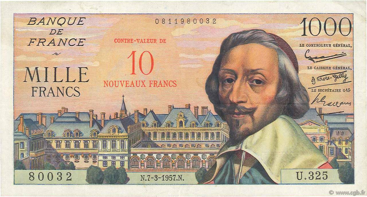 10 NF sur 1000 Francs RICHELIEU FRANCE  1957 F.53.01 TTB+