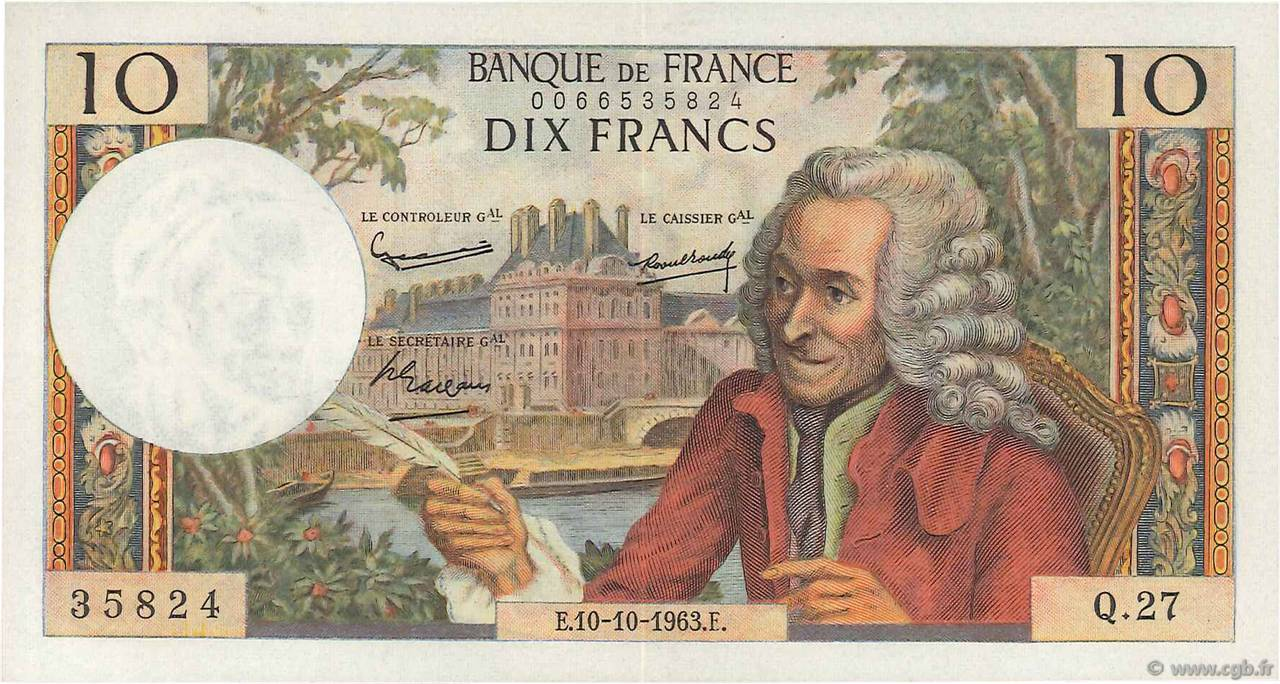 10 Francs VOLTAIRE FRANCE  1963 F.62.04 SUP