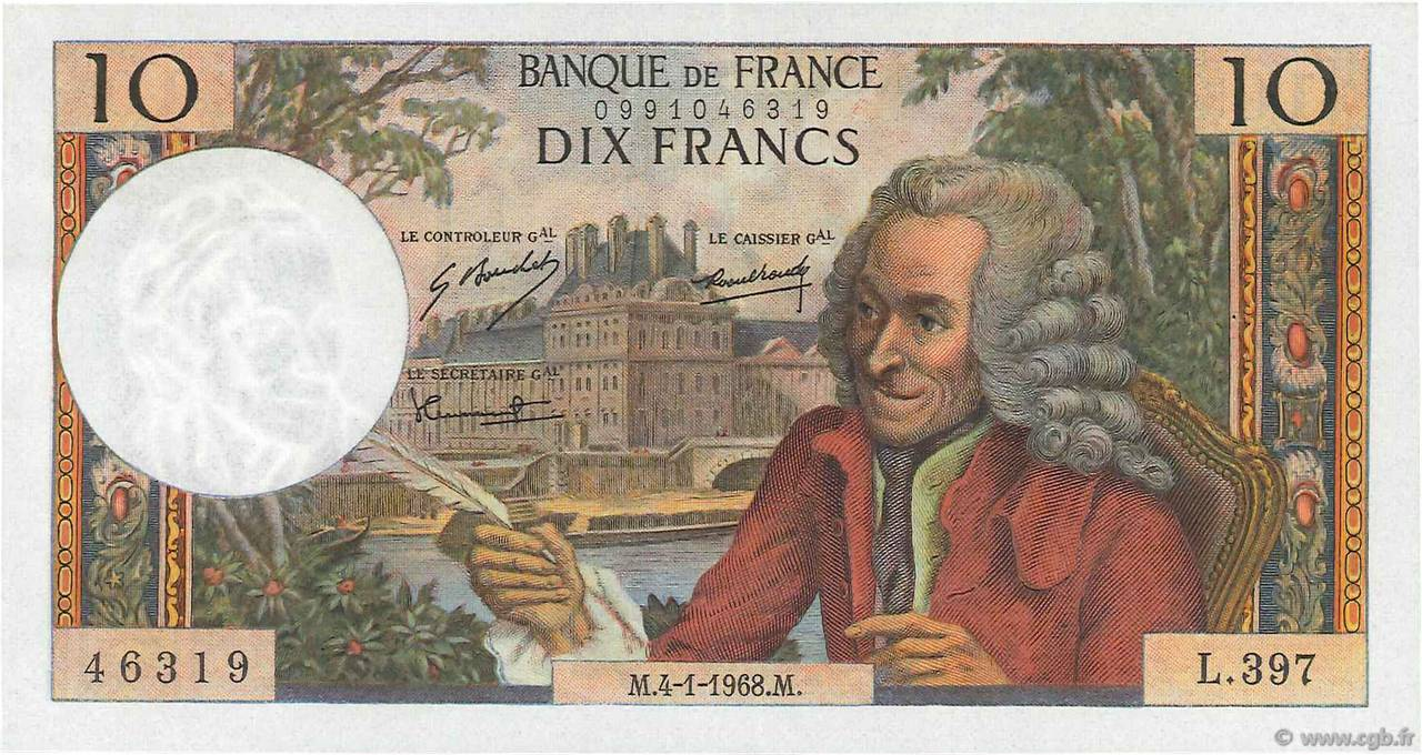 10 Francs VOLTAIRE FRANCE  1968 F.62.31 SUP+