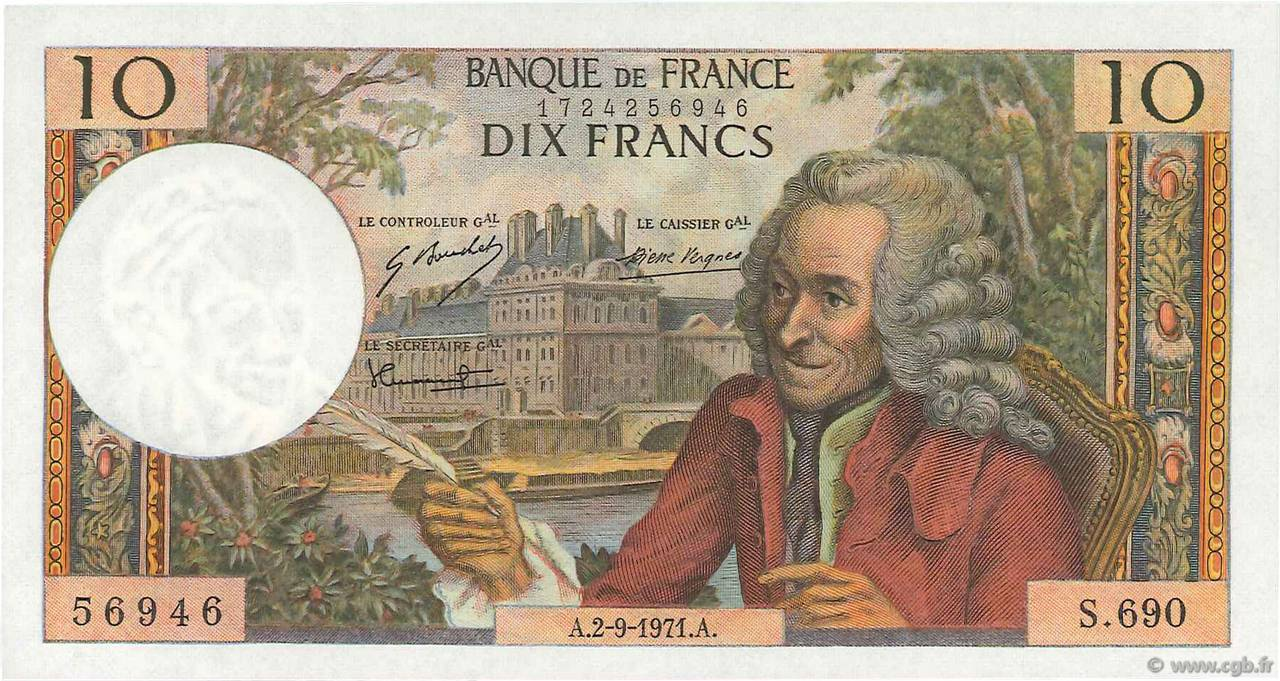 10 Francs VOLTAIRE FRANCE  1971 F.62.51 pr.NEUF