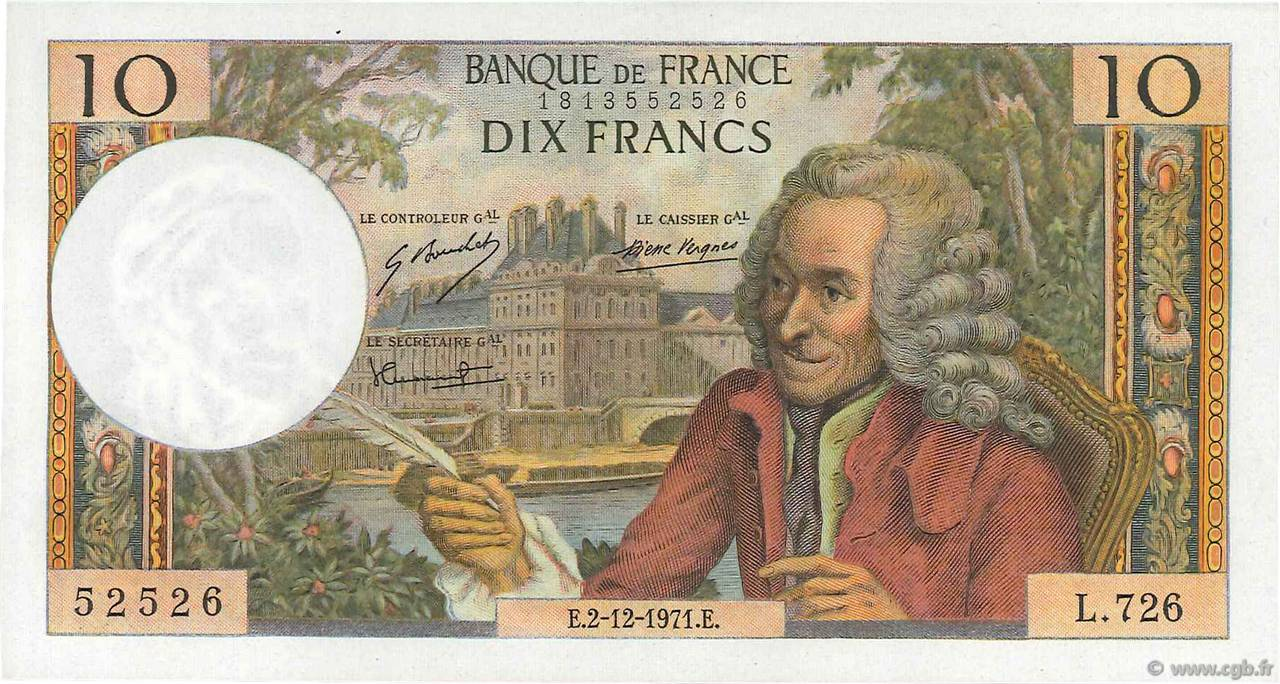 10 Francs VOLTAIRE FRANCE  1971 F.62.53 SUP+