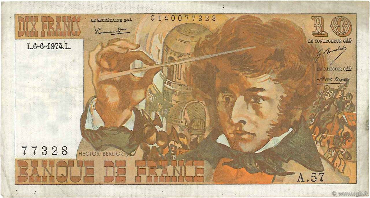 10 Francs BERLIOZ FRANCE  1974 F.63.05 TTB