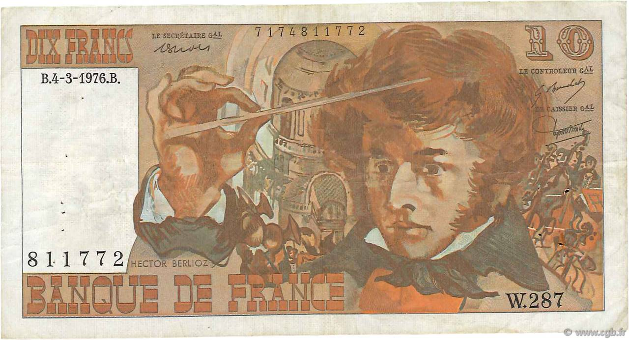 10 Francs BERLIOZ FRANCE  1976 F.63.18 TB+