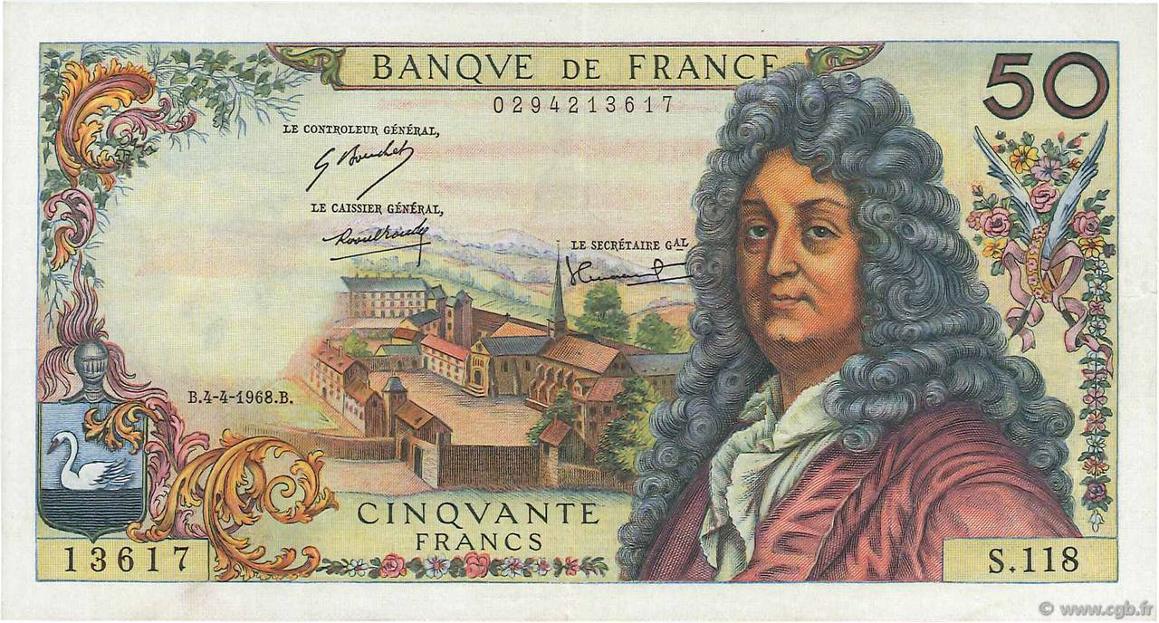 50 Francs RACINE FRANCE  1968 F.64.11 pr.SUP