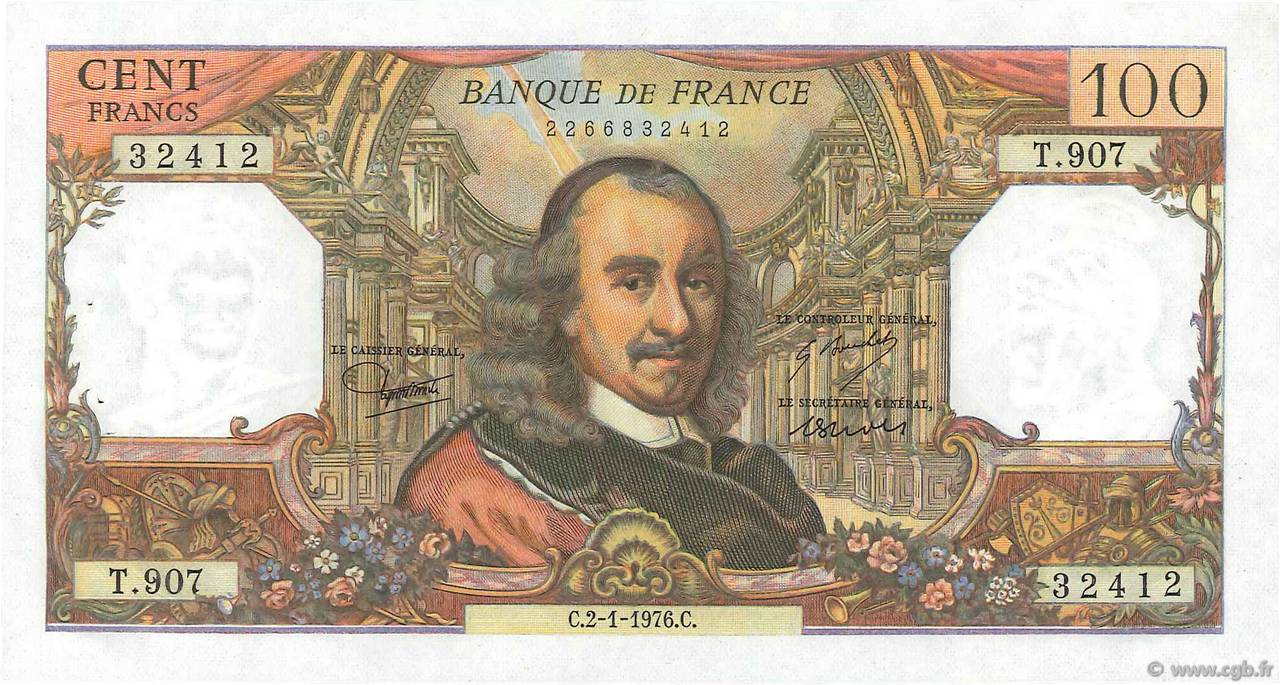 100 Francs CORNEILLE FRANCE  1976 F.65.51 SUP+
